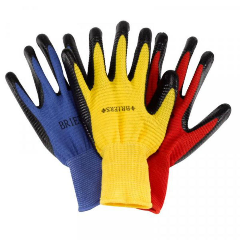 Briers Ribbed Smart Grips Gardening Gloves (Pack of 3)